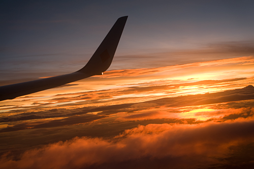 空から見る夕焼け